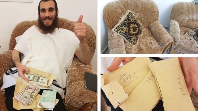 הרב יצחקי עם מעטפות אלפי הדולרים