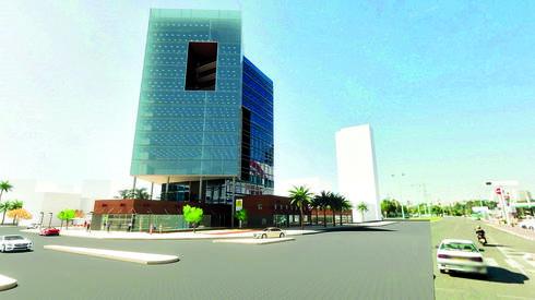 מבנה משרדים, מגדל גן העיר. הדמייה: משרד אדריכלים 'פישר אלחנני'
