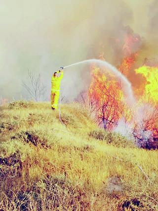 """כיבוי שריפה בעוטף עזה. צילומים:  יעקב גפן, יהודה פרץ, קק""""ל"""