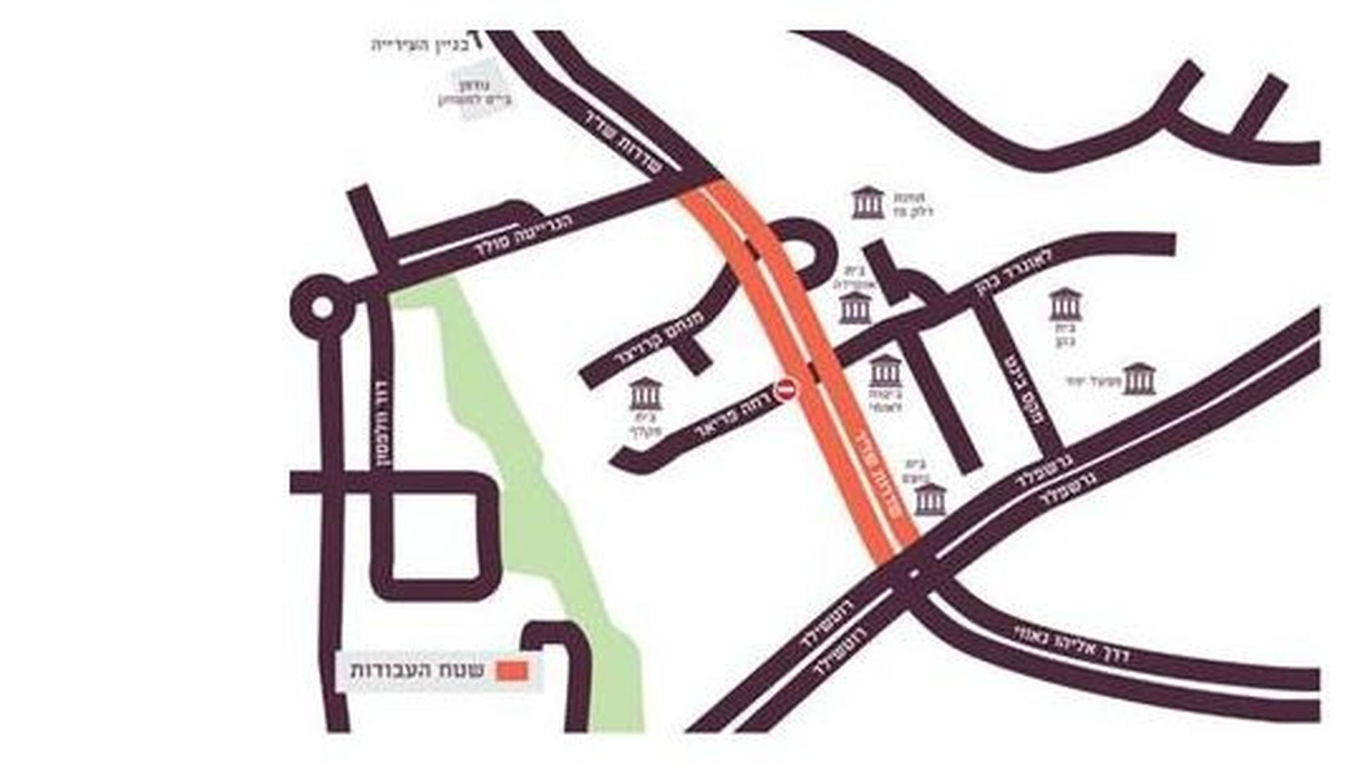 """מפת שדרוג רחוב שז""""ר   דוברות עיריית באר שבע"""