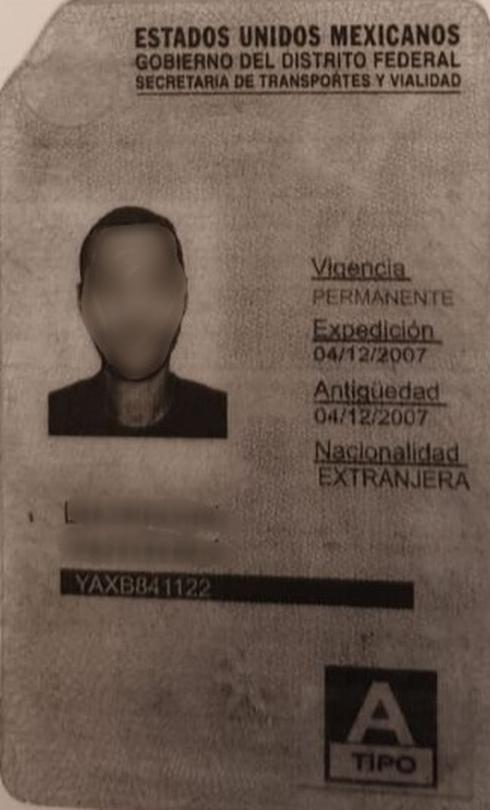 רשיון הנהיגה המקסיקני שהוצג לשוטרים צילום באדיבות משטרת ישראל